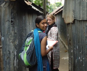 Two BRAC interns working in Korail slum