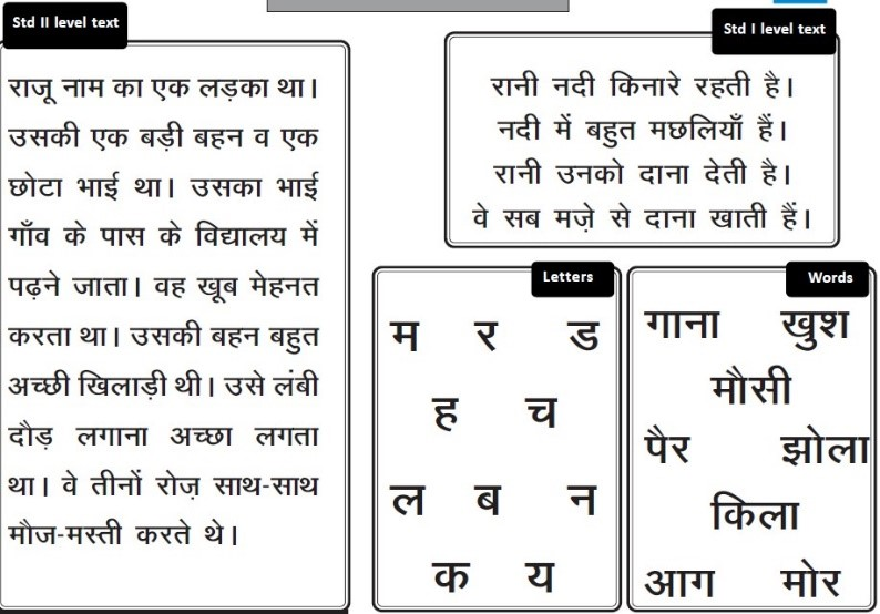 Reading tool designed by Pratham (in Hindi)